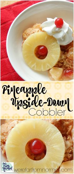 YUM!! All of the delicious flavor of a pineapple upside-down cake but in a super easy to make cobbler!