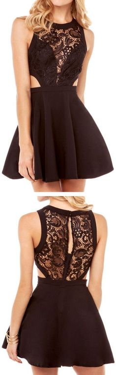 Lace Insert Flare Dress ♥