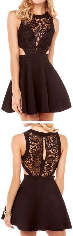 Lace Insert Flare Dress ♥