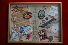 """My friend, Linda, back in Kansas, created this amazing """"This is Your Life"""" gift in a shadow box, illustrating in her very gifted way, my entire life.  A real friend knows all about you and still loves you."""