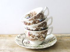 brown transferware tea cups | vintage English brown transferware tea cups set of three, with Myott ...