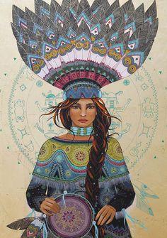 Invocation and Prayer ☽ Navigating the Mystery . medicine woman by Caroline Maniere Sacred Feminine, Divine Feminine, Spirit Art, Illustrations, Illustration Art, Shaman Woman, Goddess Art, Wise Women, Visionary Art