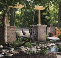 Landscaping and retaining walls can be used to add any number of coordinating embellishments to an outdoor design — including columns, planters, mailboxes and more — which can help tie an outdoor design together. Belgard Pavers, Modern Outdoor Living, Outdoor Rooms, Outdoor Decor, Landscape Walls, Concrete Patio, Architectural Elements, The Great Outdoors, Living Spaces
