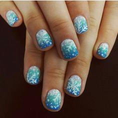 winter snowflake nails for this chilly weather! #Nailart #holidays #holidaynailart #nails #nailsalonsandiego #lajolla #sandiego #nailsalonsandiego #ombre #unique #blue #gel #shellac #nails #manicure #snowflakes #nailbar #fun #nailarttrends