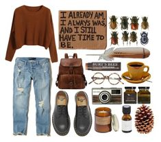 """""""I already am, I always was, and I still have time to be."""" by liz5463 ❤ liked on Polyvore featuring Hollister Co., Madewell, Dr. Martens, Chicnova Fashion and Burt's Bees"""