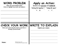 A great problem solving template for word problems! This would work great for simultaneous RoundTable, then everyone is writing their own problem, then checking and solving others. Math Teacher, Math Classroom, Teaching Math, Maths, Classroom Ideas, Math Strategies, Math Resources, Professor, Math Problem Solving