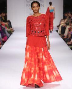Red Dress with Mirror Work Top by Purvi Doshi Shop Now: http://bit.ly/purvidoshilfw14 #Tunic #TieDye #Orange #India #Designer #Indian #Luxury #DesignerWear #Fashion #Style #Indigo #Color #Green #MirrorWork #ExclusivelyIn #PurviDoshi #Chic #Contemporary #Colour #Runway #LFW #FashionWeek #LakmeFashionWeek #WinterFestive #Palazzo #Embroidery #Textile #Weave #Skirt #Dress #Ivory #AztecPrint #Red #Aqua #Chavi