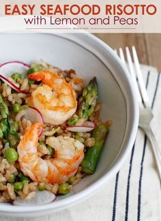 Easy Seafood Risotto with Asparagus and Peas