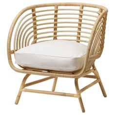 AGEN Chair with cushion, rattan, Norna natural. The furniture is hand-woven and therefore unique. Rattan is a natural material which ages beautifully and develops its own unique character over time. Rattan Armchair, Rattan Furniture, White Armchair, Furniture Legs, Barbie Furniture, Garden Furniture, Rattan Chairs, Furniture Design, Ikea Wicker Chair