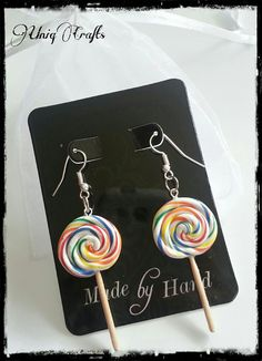 Polymer clay earrings lollipop. //  CUTE...ESPECIALLY FOR A LITTLE GIRL!  A