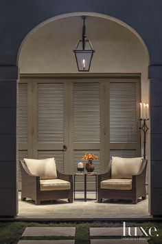 A Diverse Houston Home Inspired By Florentine Design. THE PATIO: A series of poolside arches defines a loggia, and in this enchanting vignette, existing Restoration Hardware chairs in a neutral fabric that sand- wich a petrified-wood-topped table from Kuhl-Linscomb. A Primo fixture, purchased from Light, is overhead.