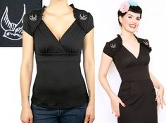 Pinup style Black Sparrow Lush Top by Steady Clothing