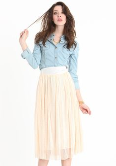 peach tulle skirt and chambray shirt