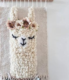 L size *llama sleepy eyes wallhanging woven wall decor nursery kidsroom Embroidery Stitches, Embroidery Patterns, Hand Embroidery, Couture Main, Weaving Wall Hanging, Wall Hangings, Punch Needle Patterns, Weaving Projects, Nursery Wall Decor