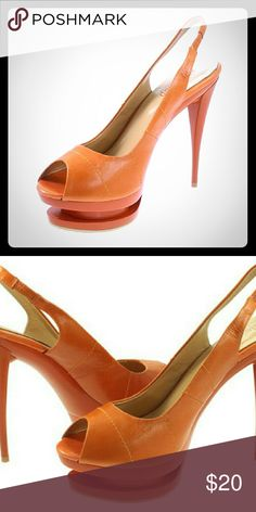"Peep Toe Stiletto Heels w/platform, Orange 13M Peep Toe Stiletto Heels w/platform Spice up any outfit with these bright colored, high heels. Unique in style. Features a 5 1/2"" heel, 1 1/2"" platform; sling back. The heightened platform makes for better stability.  Faux suede type feel; brand new in original packaging.  (like wide fit).  All In original packaging.  13/Orange. Elevenup Shoes Heels"