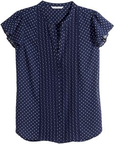 H&M - Blouse with Butterfly Sleeves - Dark blue - Ladies