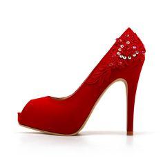 Red Wedding ShoesRed Bridal HeelsRed Satin by ChristyNgShoes, $98.00
