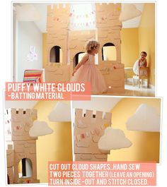 DIY- Puffy White Clouds......Used with the DIY Cardboard Castle I made for my daughter's Storybook Princess Party!