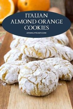 Italian Almond Cookies, Italian Cookie Recipes, Best Dessert Recipes, Sweet Desserts, Italian Foods, Italian Desserts, Bar Recipes, Amaretti Cookies, Orange
