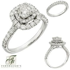 14K White gold wedding set 3/4 ctr 2 carat total weight, includes matching band (4F)