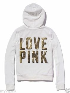 NEW! VICTORIA'S SECRET PINK SEQUIN VELOUR FAUX FUR HOODIE XS http://stores.ebay.com/VSPINK-STORE