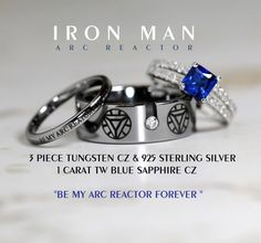 IRON MAN Tungsten and 925 Sterling Silver 1 Carat CZ Wedding Ring Set, 8mm Mens Ring
