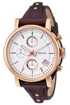 Fossil Women's ES3616 Original Boyfriend Rose Gold-Tone Watch with Brown Leather Band ** Click on the watch for additional details.