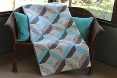 New Handmade Patchwork Aqua and Gray Batik by RedAmaryllisQuilts