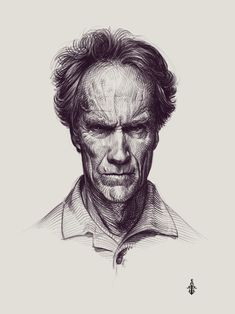 Clint Eastwood portrait by Tima Akai on ArtStation. Call Of Cthulhu, Clint Eastwood, Sketches, Graphics, Ink, Graphic Design, Statue, Portrait, Drawings