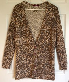 Women's Croft and Barrow animal print cardigan size medium long ...