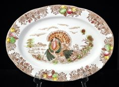 Nice Turkey Platter Game Platter Vintage by SouthernSisAntiques