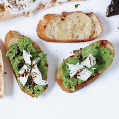 Bruschetta with Mozzarella and Smashed Fresh Favas | 22 recipes for fast hors d'oeuvres, from parmesan tuiles to crab toasts.