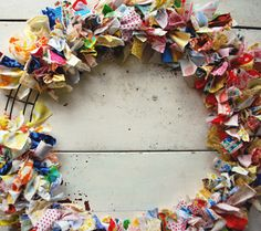 recycle wreath. each child brings in a tee shirt which creates this...