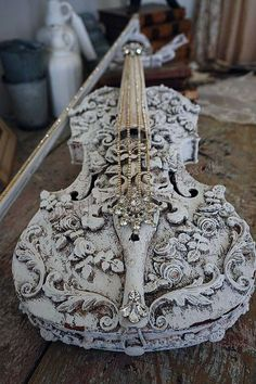 Violin musical instrument art wall hanging white French Nordic Embellished violin musical instrument art wall white French Nordic ornate roses scroll design shabby cottage chic ooak home decor anita spero design It measures: 23 Violin Art, Violin Music, Music Aesthetic, Music Stuff, Musical Instruments, Altered Art, Musicals, Creations, Artsy