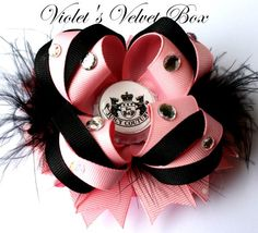 Boutique Bow- Juicy Couture Inspired Hair Bow- Designer Boutique Bow by Violet's Velvet Box. $8.99, via Etsy.