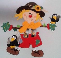 Window picture scarecrow with raven - autumn - decoration cardboard box! Autumn Crafts, Fall Crafts For Kids, Diy And Crafts, Arts And Crafts, Paper Crafts, Art Projects, Projects To Try, Fall Preschool, Autumn Activities