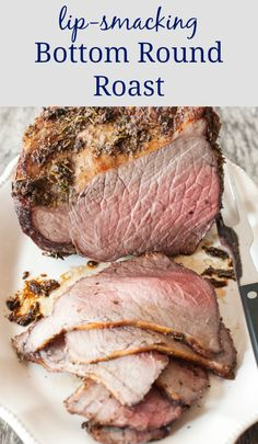 Bottom Round Roast - Allergy Free Alaska Recipes - This bottom round roast will quickly become a family favorite recipe! Crusted in sea salt, fresh garlic, and herbs, this juicy roast is delicious! Beef Round Roast Recipe, Slow Cooker Round Roast, Rump Roast Recipes, Meat Recipes, Cooking Recipes, Sandwich Recipes, Yummy Recipes, Dinner Recipes, Bottom Round Roast Oven