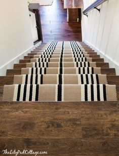 how to do a stair runner at the top of the stairs Stairway Makeover - Swapping Carpet for Laminate - The Lilypad Cottage Laminate Stairs, Laminate Flooring, Hardwood Floors, Painted Stairs, Wooden Stairs, Stairway Decorating, Staircase Remodel, Staircase Makeover, Staircase Design