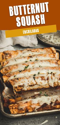Vegetable packed Butternut Squash Enchiladas have a hint of sweetness mixed with black beans, diced tomatoes, garlic and onions, and full of traditional enchilada flavor. Slathered in a red enchilada sauce and covered in melted cheese makes this easy to make the recipe perfect for weeknights. #ButternutSquashEnchiladas #BlackBeanEnchiladas #VegetarianEnchiladas #MeatlessMeals