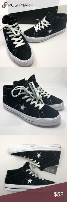 db31fdff3db450 NEW Converse One Star Pro Suede Black Mid Sneaker NEW Converse One Star Pro  Suede Black