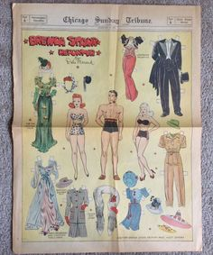 This full page journal size paper doll is of Brenda and Daphne and what's his name. For something that is over 75 years old these full page paper dolls are in good condition. There are some folds, small edge tears but these have held up well for their years. | eBay!
