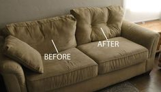 Before and after couch...How to revive a saggy cushion.  The $1.00 tip.