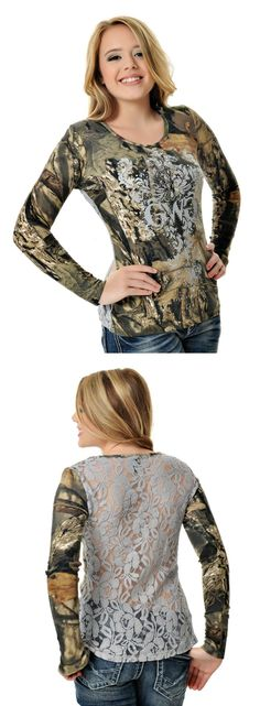 - Lace Top - Mossy Oak Break Up Country - Junior Fit - Body: Poly Cotton - Lace: Cotton Nylon - Gray screen print - Scroll motif with stones - Size Chart Country Wear, Country Girls Outfits, Country Girl Style, Country Fashion, My Style, Girl Fashion, Fashion Outfits, Womens Fashion, Redneck Girl