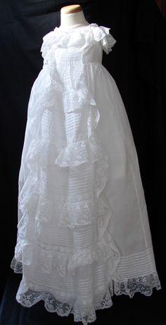 Circa 1860s, Fine Handmade Valencienne Christening Gown