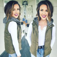 """Rainy day hair, bundle up in my fav @shoptopshelfwardrobe vest! ••• Use code """"NICOLE"""" for 20% off your entire order"""