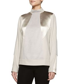 Jason Wu Mock-Neck Alpaca-Blend Pullover, Women's, Size: 12, Powder Gray
