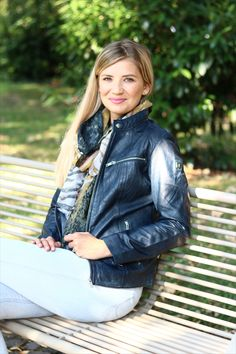 Beautiful Leather jacket in blue.