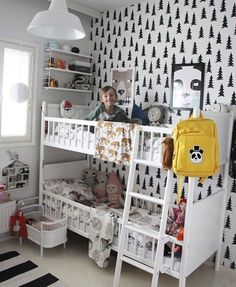 Monochrome children's bedrooms