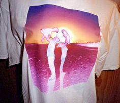 Family Silhouette Shirt, Custom Graphic Beach Silhouette T-Shirt, Sz. Medium #Handmade #GraphicTee