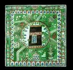 An Iznik pottery tile depicting the Ka'ba Kaba Kaaba and the Masjid al-Haram, Mecca Turkey, Century. Dimensions: x cm. Islamic Tiles, Islamic Art, Ceramic Pottery, Pottery Art, Mecca Wallpaper, Masjid Al Haram, Antique Tiles, Islamic World, Illuminated Manuscript